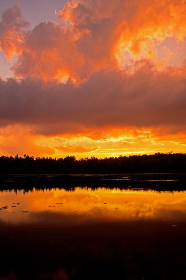 在火的天空在日落 库存照片