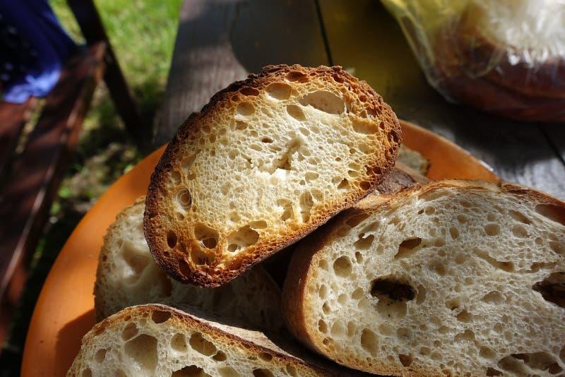 在火的烤面包片,烹调在串,照亮由太阳 库存图片