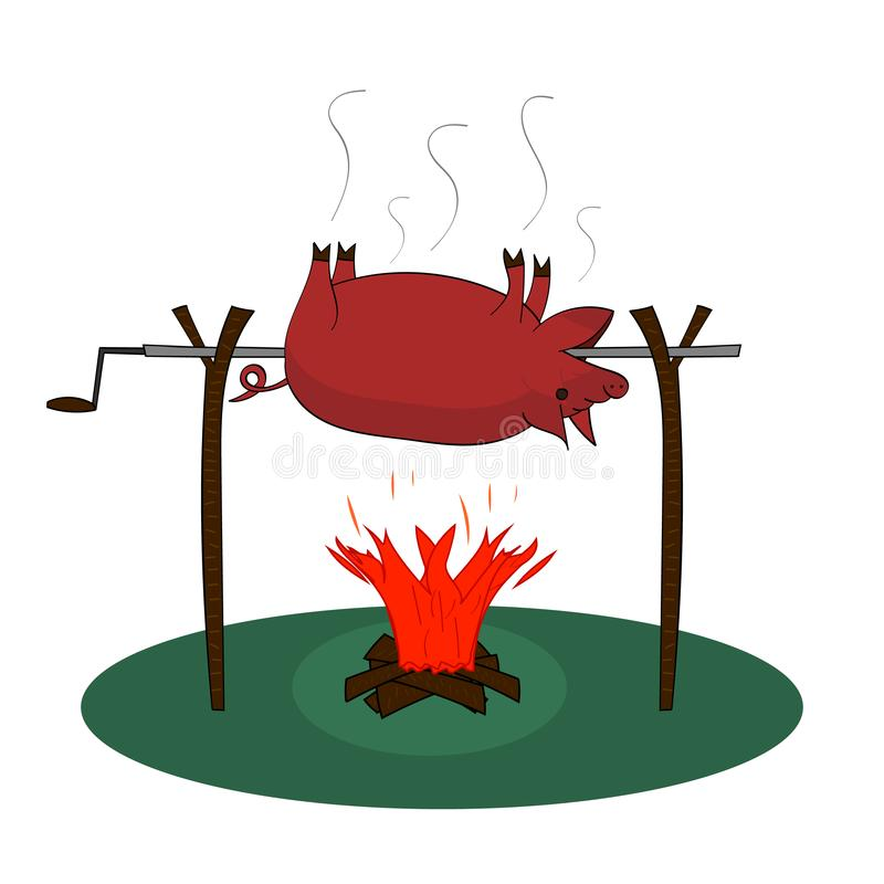 在火的猪烘烤 烹调在一家烤肉店的猪在与木柴的篝火在白色背景 传染媒介被隔绝的图画 Illustra 皇族释放例证