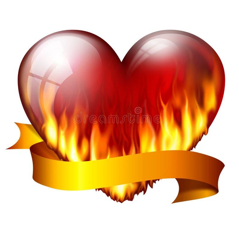 在火的红色心脏 库存例证