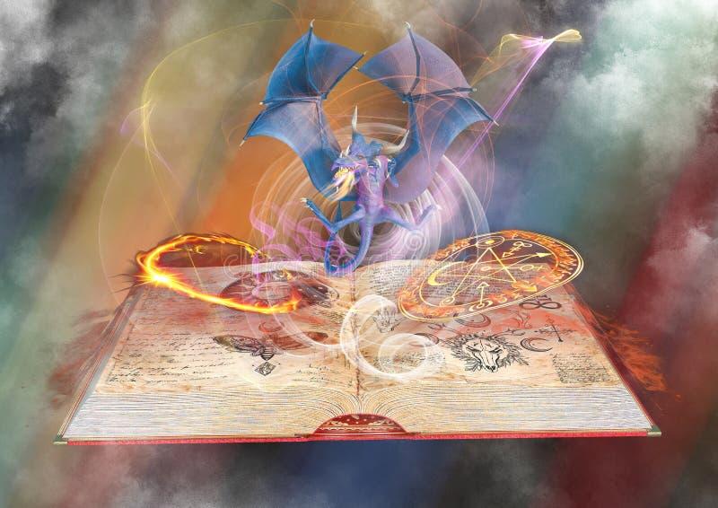 在火的龙在不可思议的童话书背景 皇族释放例证