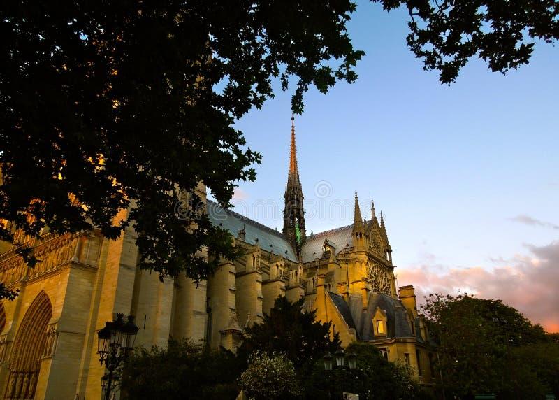 在火破坏前的Notre Dame 太阳落山 库存照片