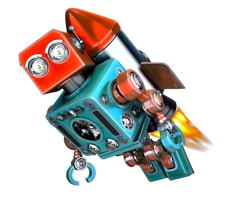 在火箭的机器人飞行 开始概念 3d例证 查出 向量例证