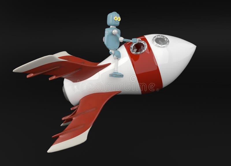在火箭3d的机器人回报 向量例证