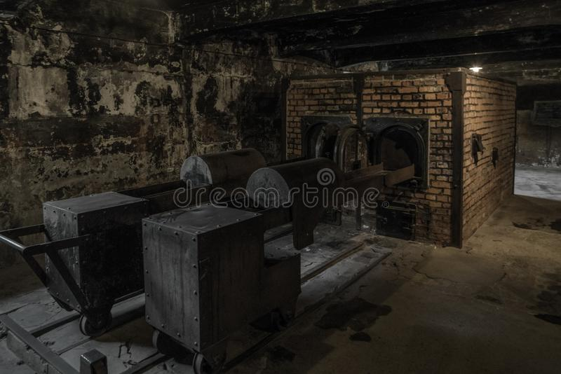 在火葬场的熔炉在奥斯威辛I,波兰 图库摄影