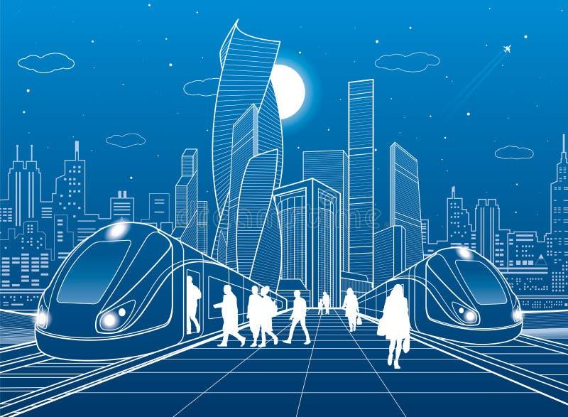 在火车站的两列火车 平台的乘客 现代夜镇 都市运输例证 城市生活场面 丝毫 库存例证