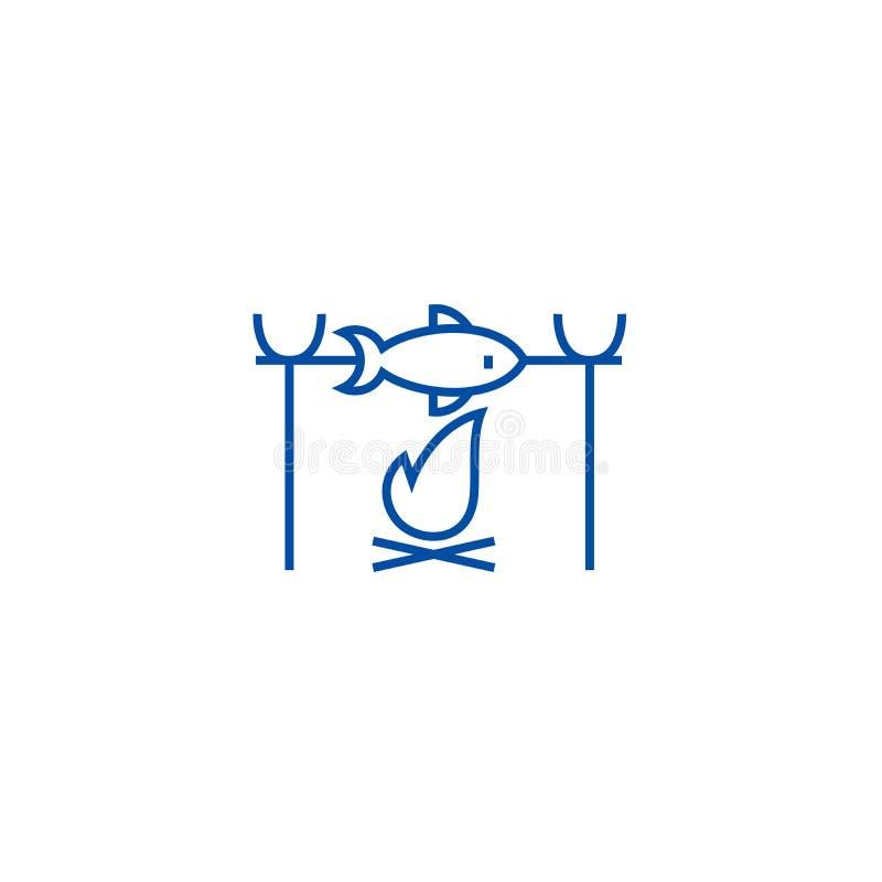 在火野营的线象概念的鱼烤肉 在火野营的平的传染媒介标志,标志,概述的鱼烤肉 皇族释放例证