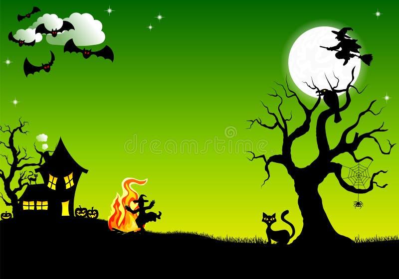 在火附近的巫婆跳舞在万圣夜 库存例证