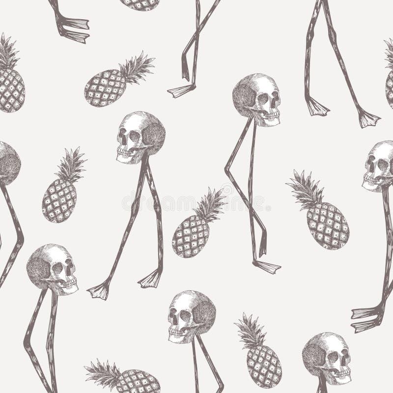 在火鸟腿菠萝的头骨在铅笔白色背景中 皇族释放例证