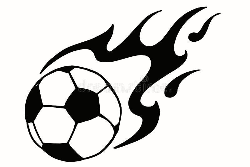 在火,手拉的简单的例证,黑球的足球 皇族释放例证图片
