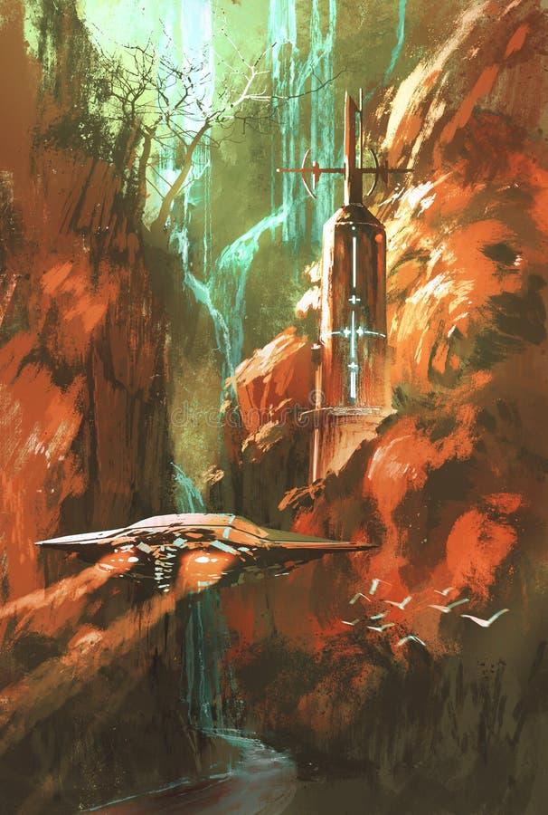 在灯塔和红色峡谷背景的太空飞船  皇族释放例证