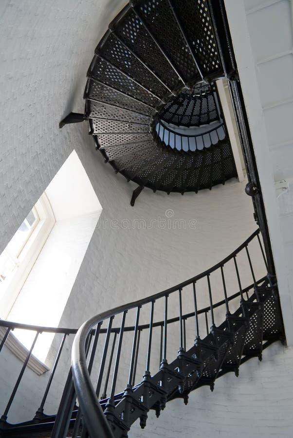 在灯塔老螺旋形楼梯里面 免版税库存图片