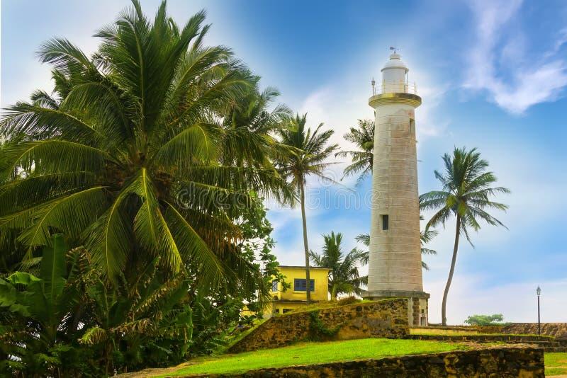 在灯塔,堡垒加勒,斯里兰卡附近的区域 免版税库存照片