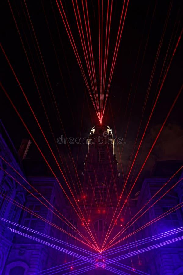 在灯节的政府大厦塔期间 免版税图库摄影