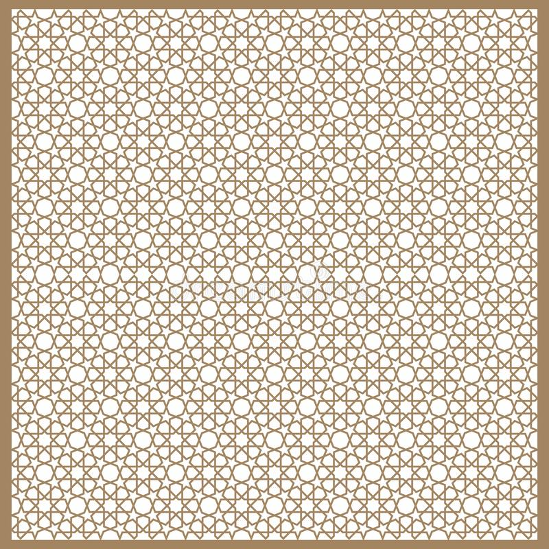 在灰棕色的无缝的伊斯兰教的样式 传统回教装饰品 库存照片
