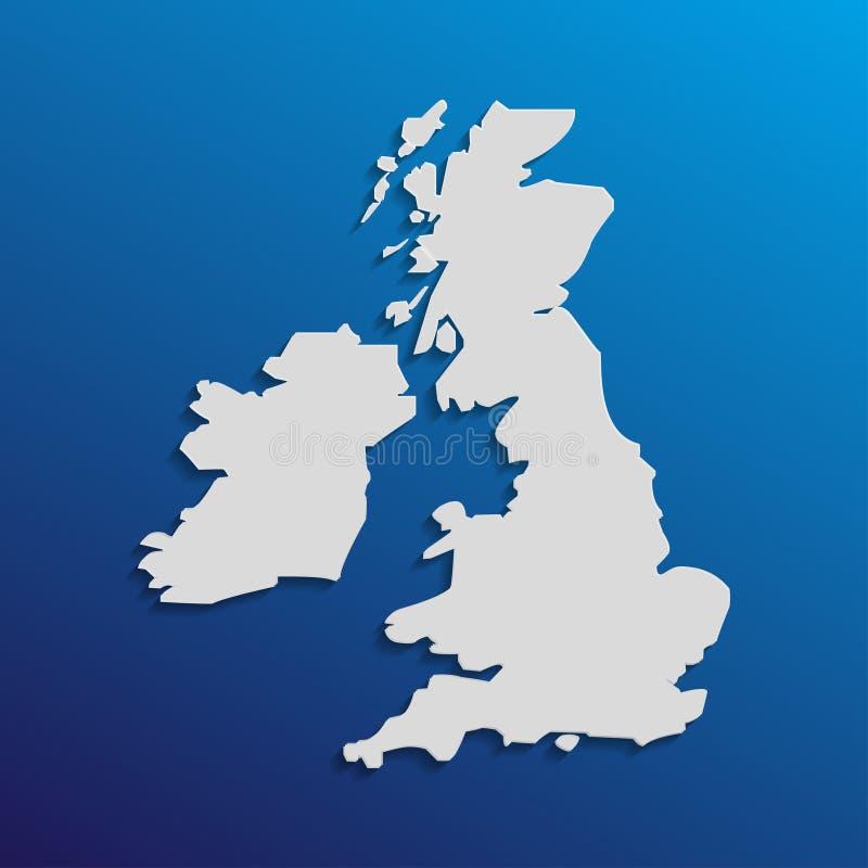 在灰色与阴影和梯度的英国地图在蓝色背景 库存例证
