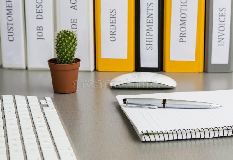 在灰色书桌上的办公室工作区用仙人掌和 库存图片
