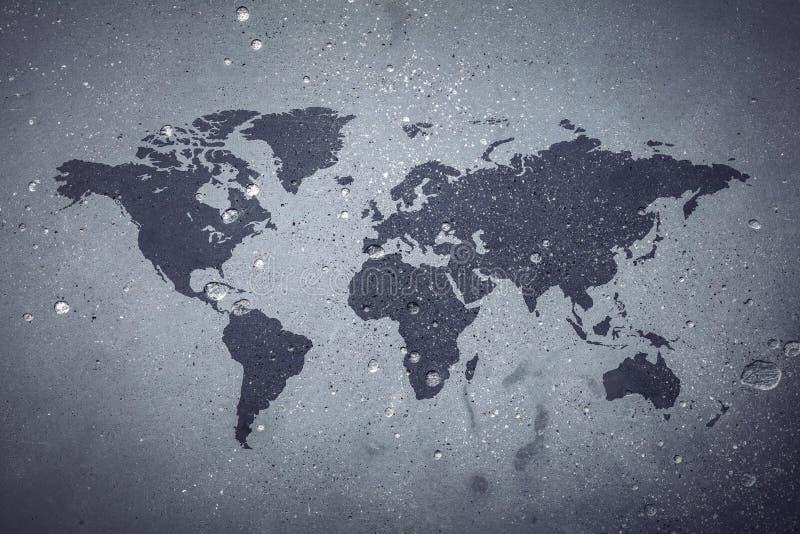 在灰色具体背景的世界地图 向量例证