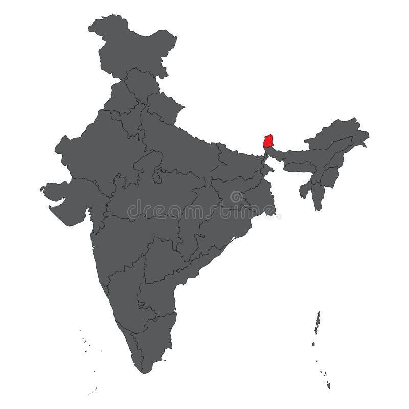 在灰色印度地图传染媒介的锡金红色 库存例证
