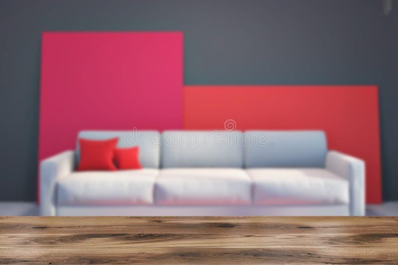在灰色和红色客厅迷离的灰色沙发 皇族释放例证
