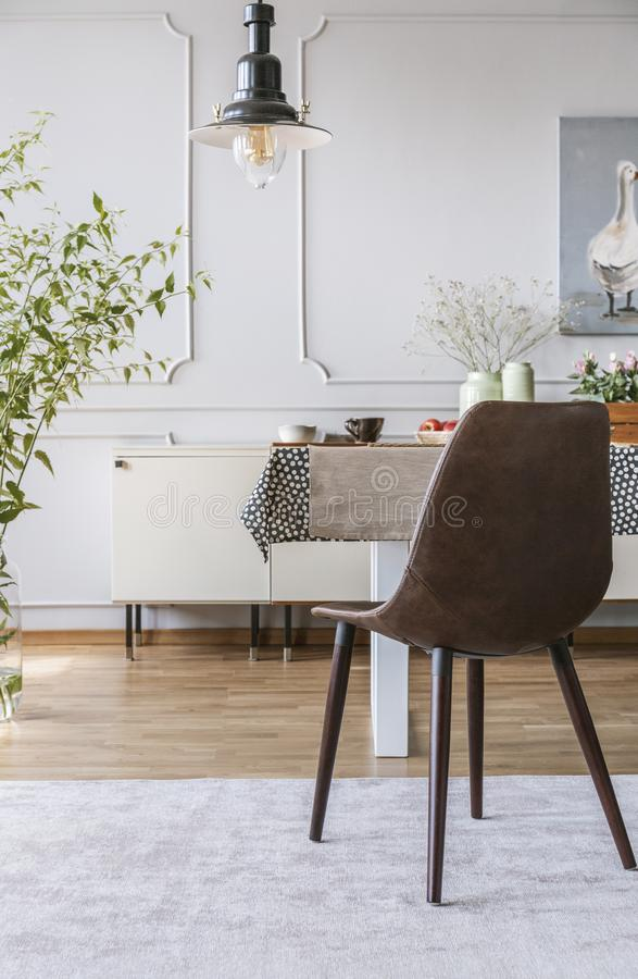 在灰色地毯的黑椅子在餐厅内部的桌上与灯和墙壁有造型的 实际照片 库存照片