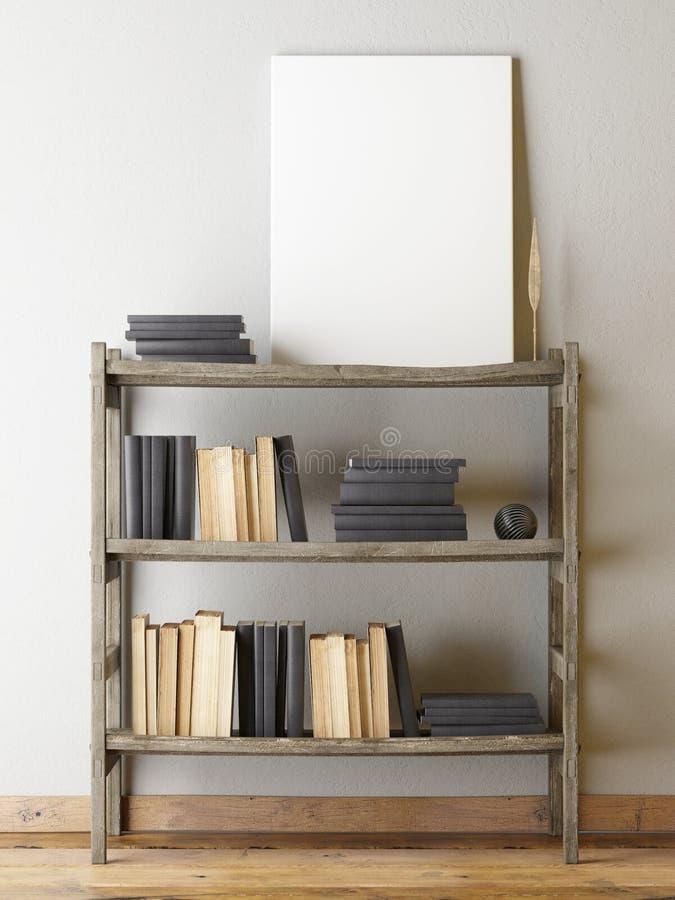 在灰色墙壁,减速火箭的书柜机智书上的海报 皇族释放例证
