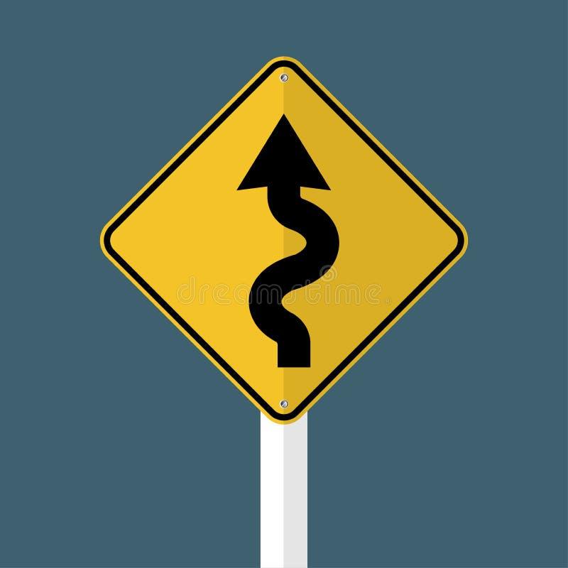 在灰色天空背景的左弯曲道路标志 也corel凹道例证向量 库存例证
