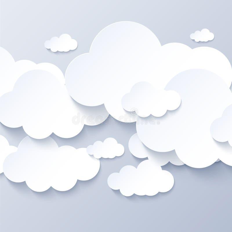 在灰色天空背景的白色云彩 向量例证