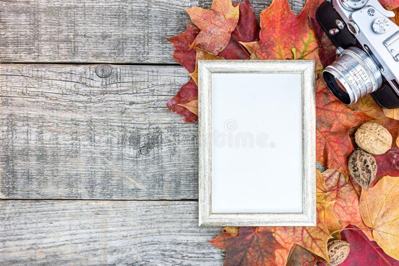 在灰色木板的经典照相机和照片框架有colorf的 免版税图库摄影