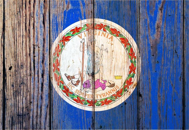 在灰色木板背景的弗吉尼亚美国各州国旗在不同颜色的独立的那天蓝色红色和 库存照片