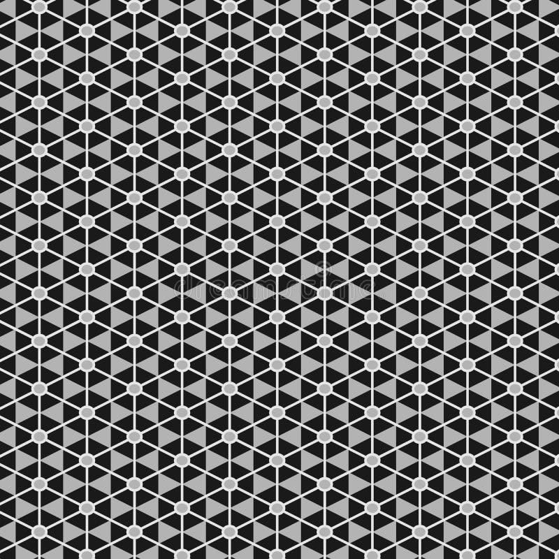 在灰色极谱的典雅的单色东方种族无缝的样式 库存例证