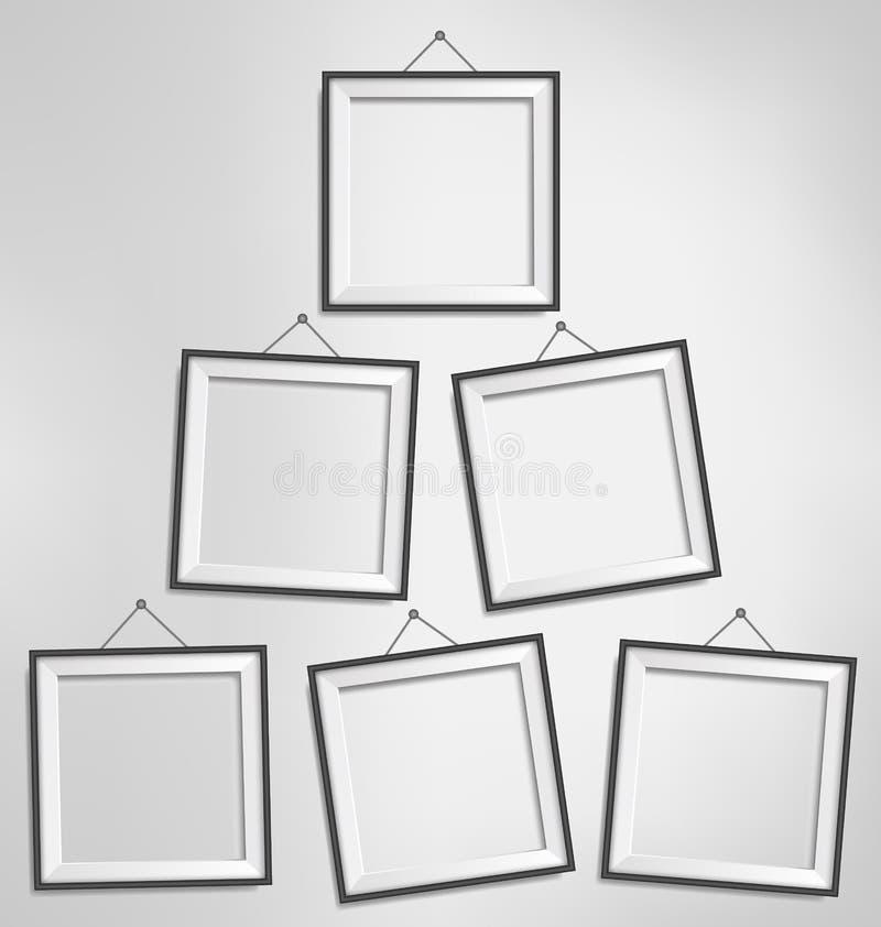 在灰色极谱隔绝的六个黑现代空白的框架 库存例证
