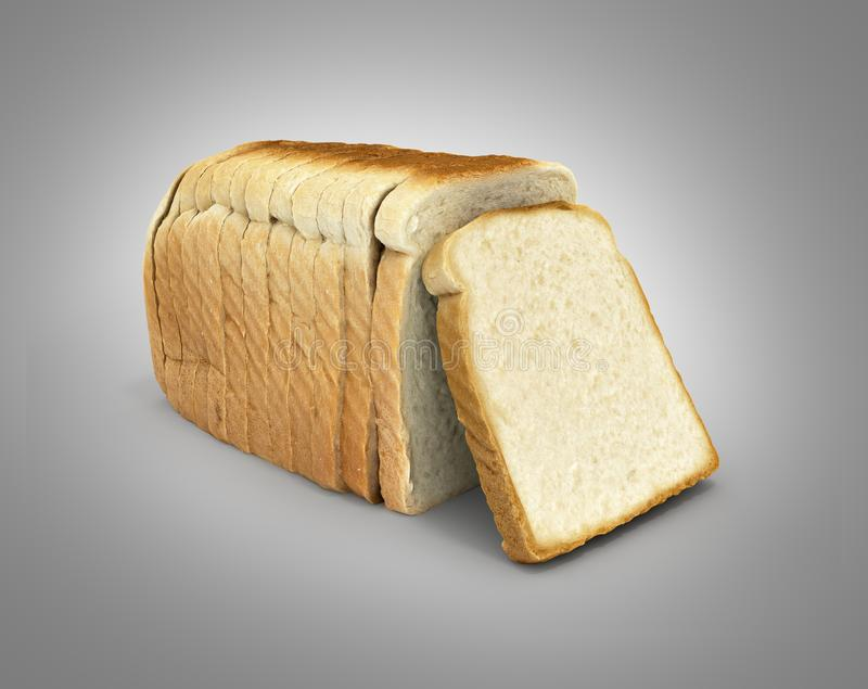 在灰色梯度背景隔绝的切的面包3d 皇族释放例证
