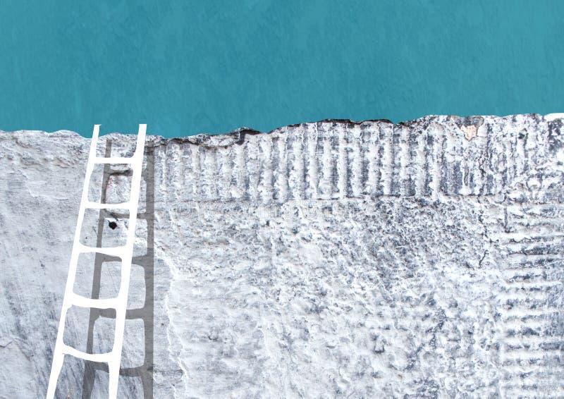 在灰色混凝土墙附近的梯子 免版税库存图片