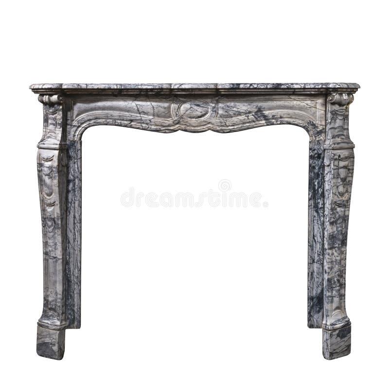在灰色白色大理石古董维多利亚女王时代isolat的壁炉周围 库存图片
