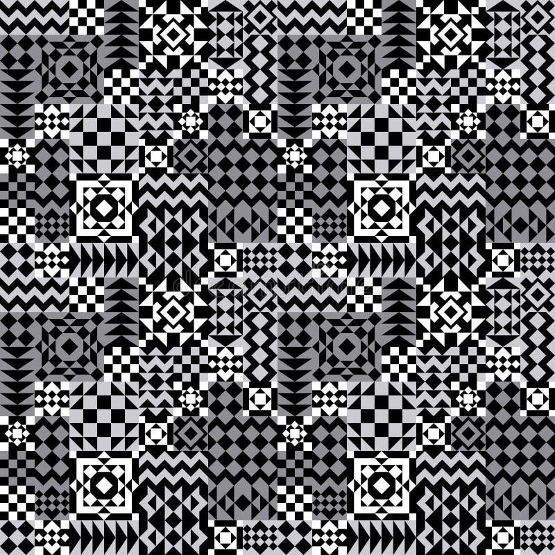 在灰色的几何补缀品样式 库存例证