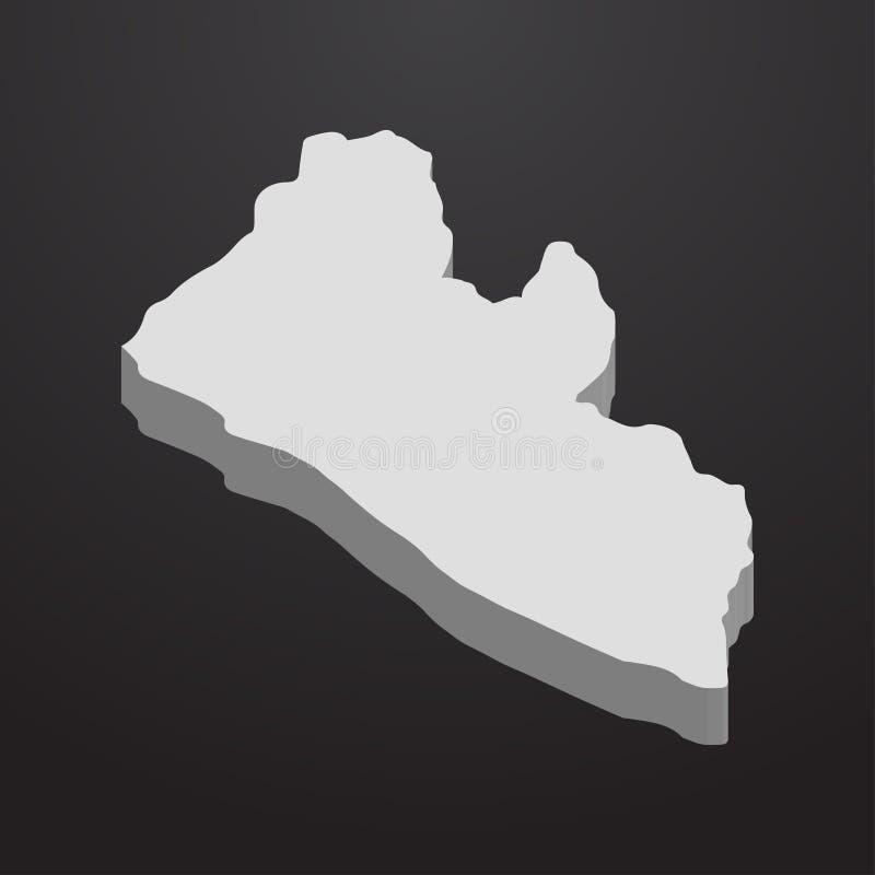 在灰色的利比里亚地图在黑背景3d 皇族释放例证