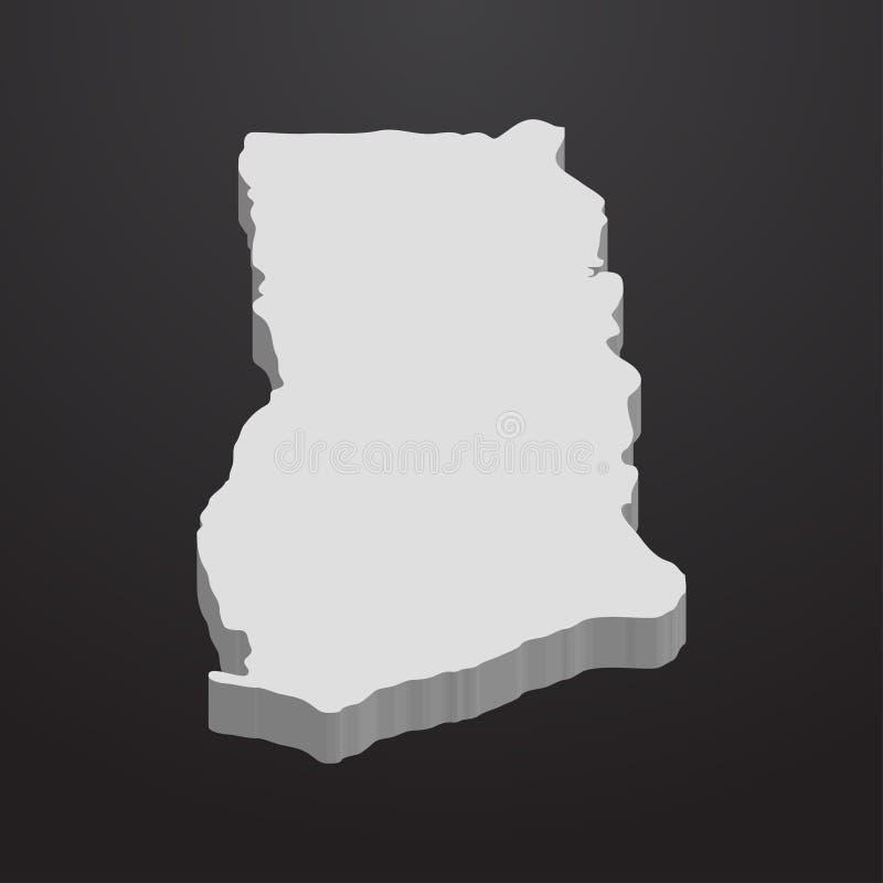 在灰色的加纳地图在黑背景3d 皇族释放例证