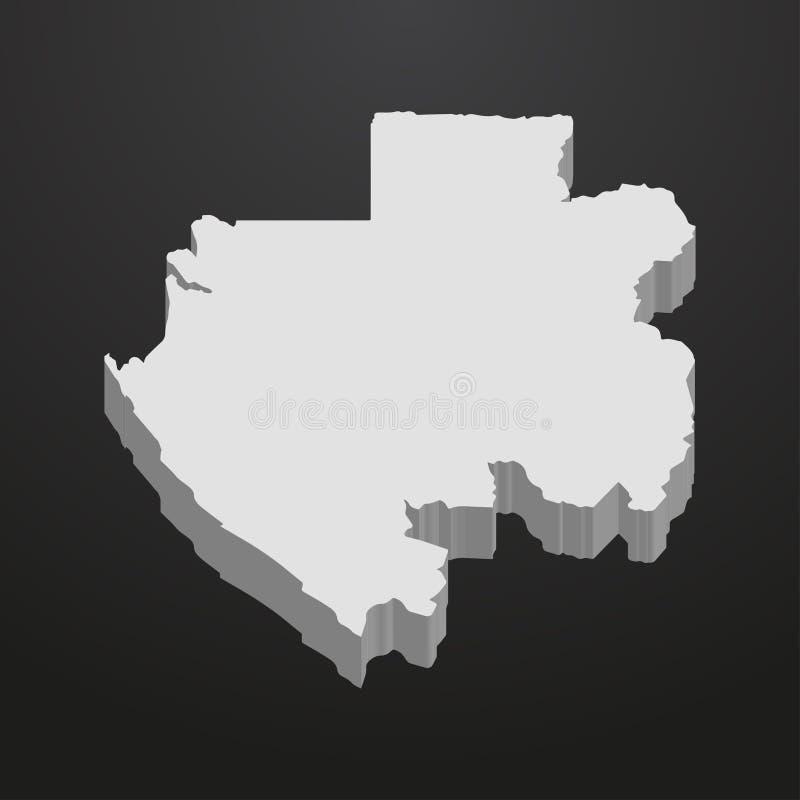 在灰色的加蓬地图在黑背景3d 皇族释放例证