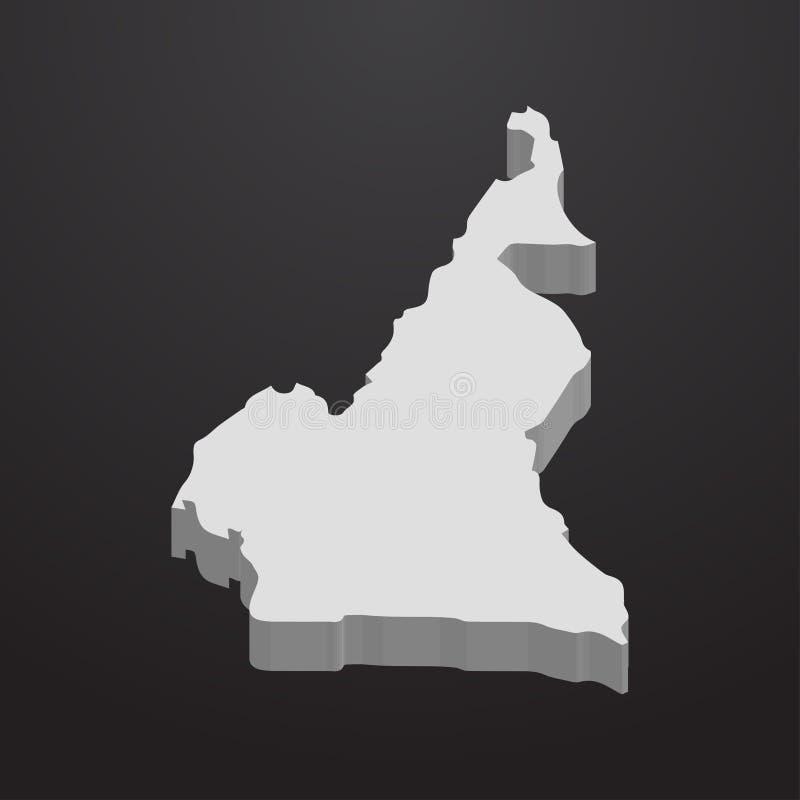 在灰色的喀麦隆地图在黑背景3d 向量例证