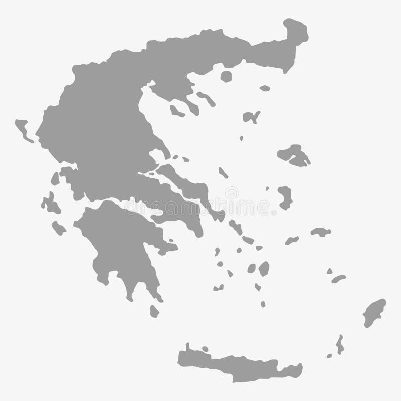 在灰色的希腊地图在白色背景 库存例证