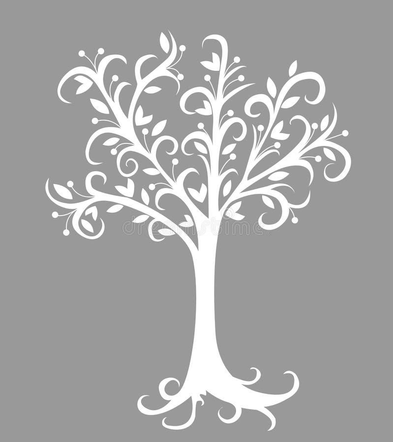 在灰色的抽象树例证 向量例证