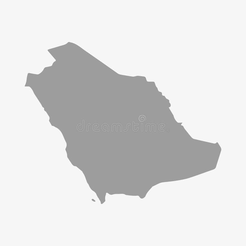 在灰色的沙特阿拉伯地图在白色背景 皇族释放例证