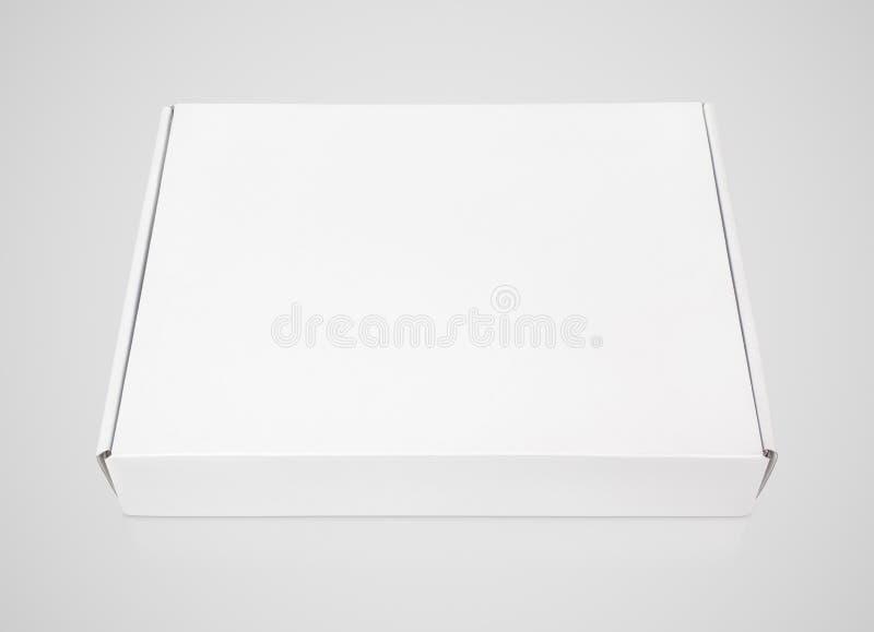 在灰色的白色空白的方形的纸盒薄饼箱子 库存图片