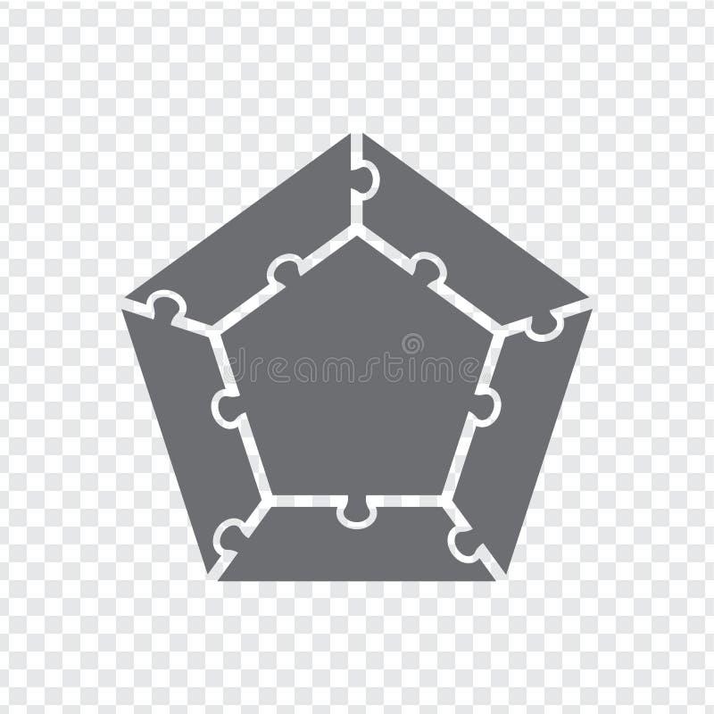 在灰色的简单的象五边形难题 五个元素和中心的简单的象五边形难题在透明背景 向量例证
