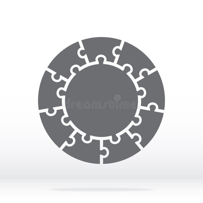 在灰色的简单的象圈子难题 九个元素和中心的简单的象圈子难题在灰色背景 皇族释放例证