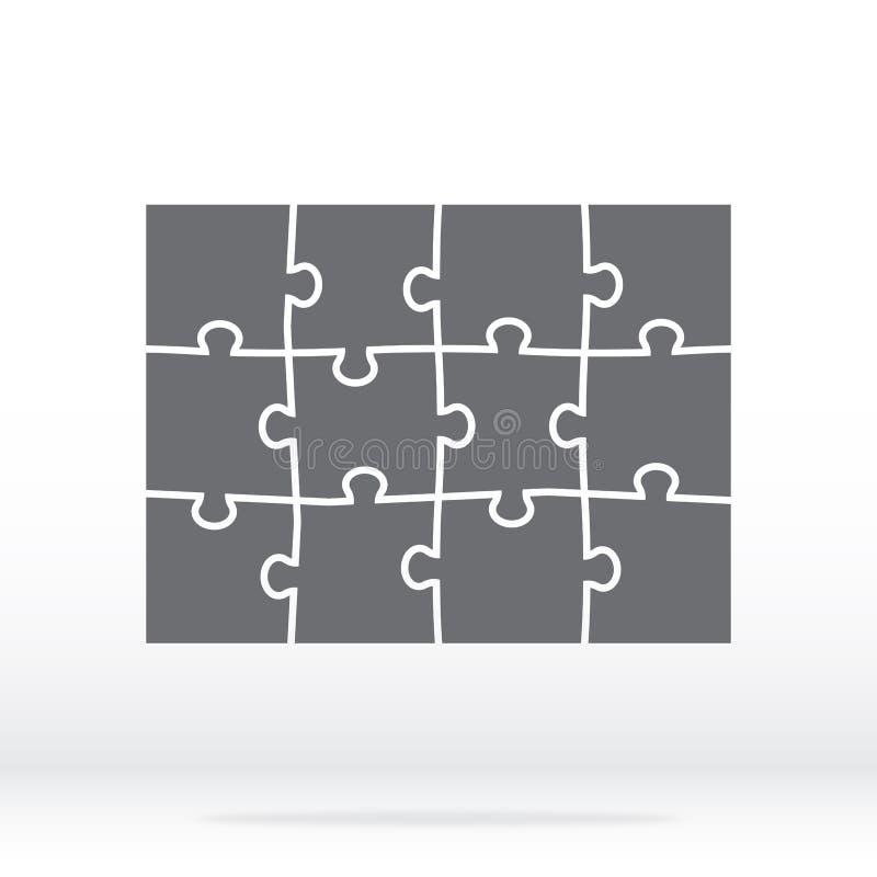 在灰色的简单的象难题 十二个元素的简单的象难题在灰色背景的 在三个片断的简单的象难题四 向量例证