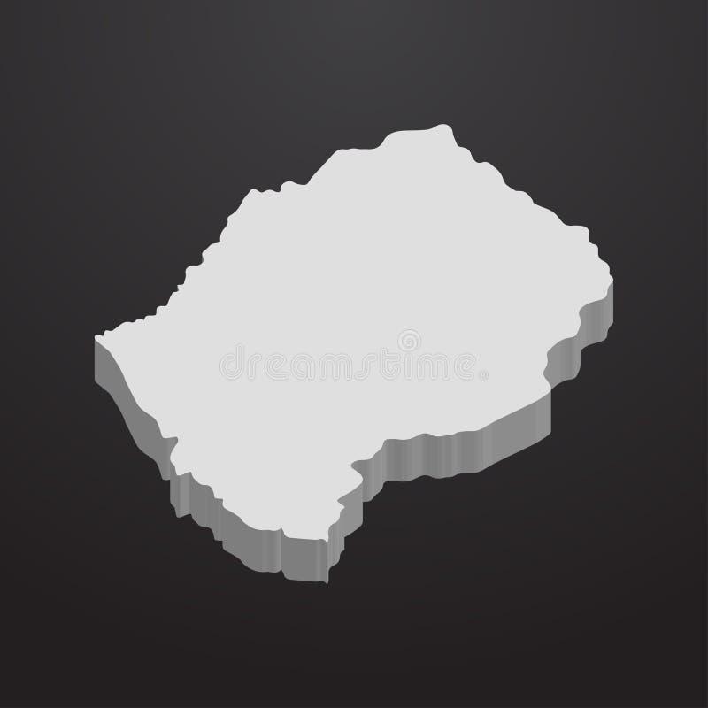 在灰色的莱索托地图在黑背景3d 库存例证