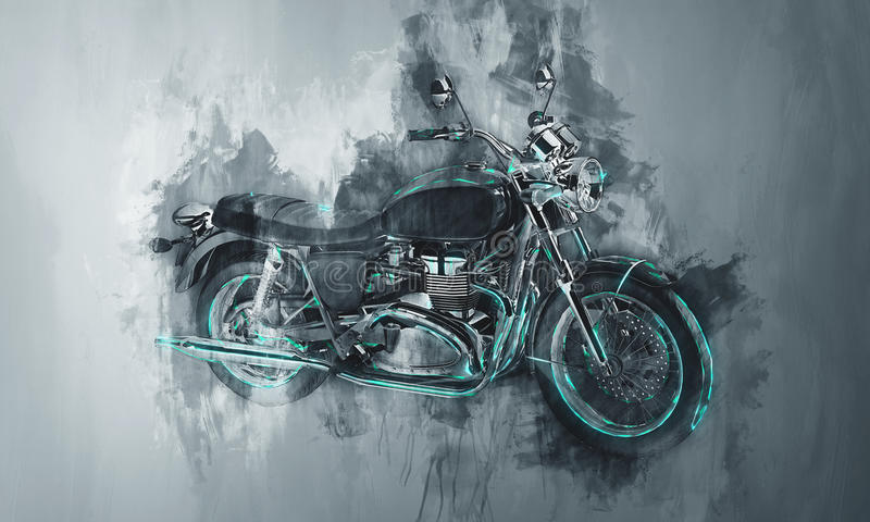 在灰色的被绘的摩托车自行车 免版税图库摄影