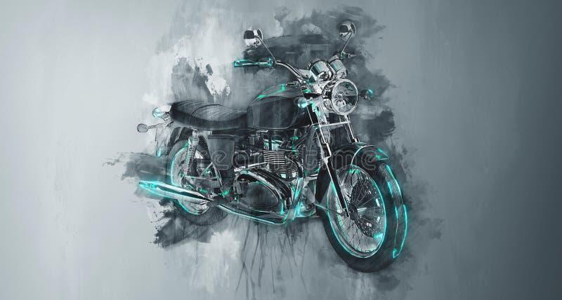 在灰色的经典摩托车自行车 皇族释放例证